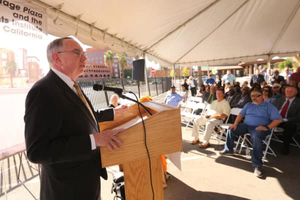 State Senator Richard Roth speaks during an event to build a Civil Rights Institute on Monday, Oct. 23, 2017 at the corner of Fairmont Blvd. and Mission Inn Ave. in Riverside. The institute will be part of the Mission Heritage Plaza that will provide affordable workforce housing and also the location for the Fair Housing Council of Riverside County.  (Stan Lim, The Press-Enterprise/SCNG)